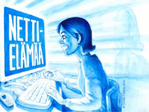 Nettielämää -kirjan kansikuva, piirros: Jouko Nuora